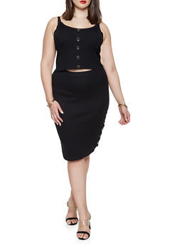 Plus Size Ribbed Knit Tank Top and Skirt Set - BLACK - 1930015991510