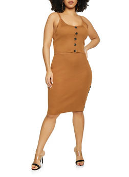 Plus Size Ribbed Knit Tank Top and Skirt Set - 1930015991510