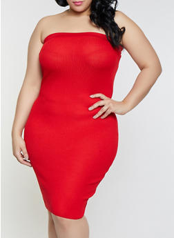 e32e6efcdd8 Plus Size Solid Ribbed Knit Tube Dress - 1930015991690