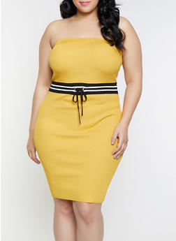 Plus Size Striped Waist Tube Dress - 1930015991700