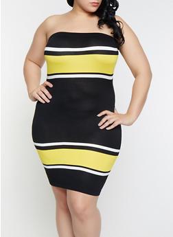 Plus Size Color Block Tube Dress - 1930015991730