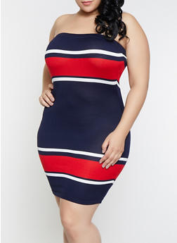 Plus Size Color Block Tube Dress - 1930015991730