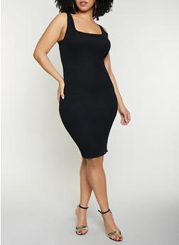 Plus Size Solid Sleeveless Rib Knit Dress - 1930015991740