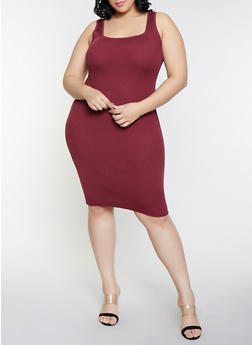 Plus Size Solid Sleeveless Rib Knit Dress - 1930015991740