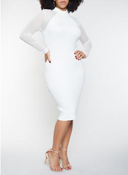 Plus Size Ribbed Knit Mesh Sleeve Sweater Dress - 1930015992030