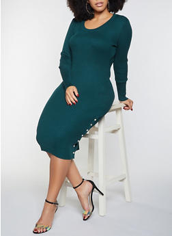 Plus Size Side Snap Midi Dress - 1930015992110
