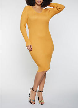 Plus Size Side Snap Midi Dress - 1930015992110