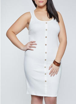 Plus Size Button Midi Tank Dress - 1930015992244
