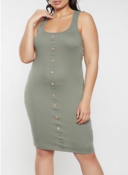 Plus Size Button Midi Tank Dress - 1930015992244