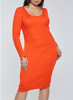 Plus Size Twist Open Back Sweater Dress - 1930015992701