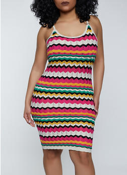 Plus Size Chevron Cami Dress - 1930015992750