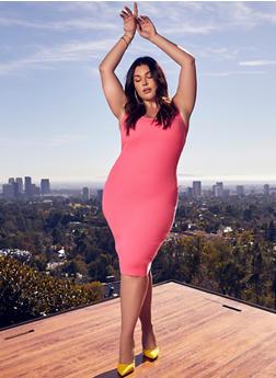 Plus Size Twist Open Back Bodycon Dress - 1930015992760