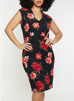 Plus Size Floral Sheath Dress - 1930015993078