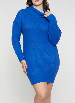 Plus Size Cowl Neck Sweater Dress - 1930015993652