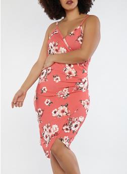Plus Size Coral Floral Faux Wrap Dress - 1930015994231