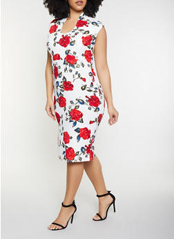Plus Size Floral Zip Back Bodycon Dress - 1930015994391