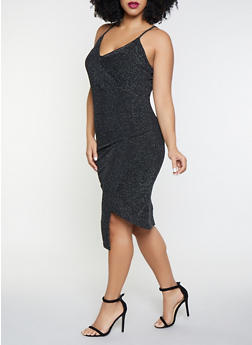 Plus Size Shimmer Knit Faux Wrap Dress - 1930015994463