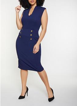 Plus Size Faux Button Detail Bodycon Dress - 1930015994691
