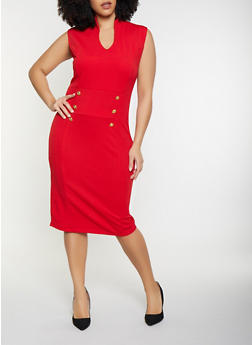 Plus Size Faux Button Detail Bodycon Dress - 1930015994691