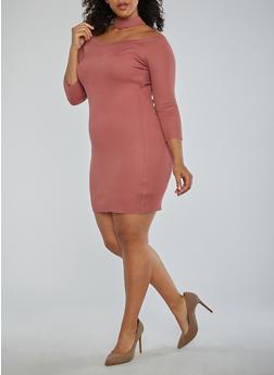 Plus Size Choker Neck Off the Shoulder Dress - 1930015994872