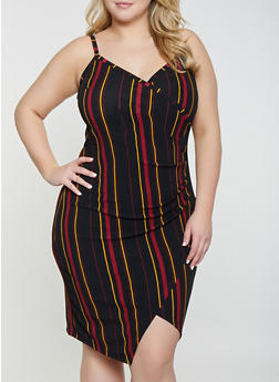 Plus Size Striped Faux Wrap Bodycon Dress - 1930015995046