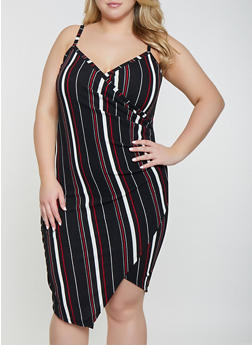 ff68c7e2a21 Plus Size Striped Faux Wrap Bodycon Dress - 1930015995046