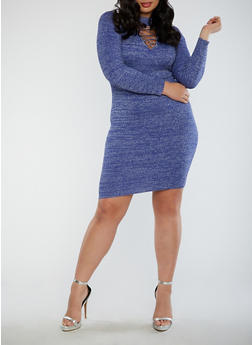 Plus Size Ribbed Caged Neck Glitter Dress - 1930015995166