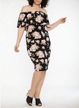 Plus Size Rose Print Off the Shoulder Dress - 1930015995390