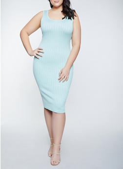 Plus Size Sleeveless Rib Knit Dress - 1930015996053