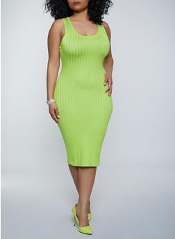 Plus Size Sleeveless Rib Knit Dress - 1930015996053