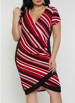 Plus Size Striped Faux Wrap Dress - 1930015996077