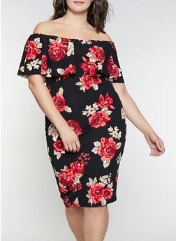 Plus Size Floral Off the Shoulder Dress - 1930015996079