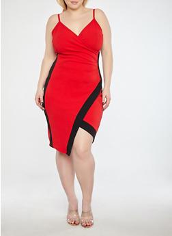 Plus Size Textured Knit Contrast Trim Ruched Dress - 1930015996094