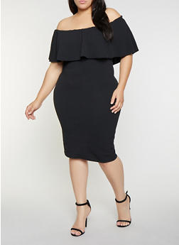 375302c1655 Plus Size Off the Shoulder Bodycon Dress - 1930015996095