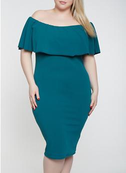 Plus Size Off the Shoulder Bodycon Dress - 1930015996095