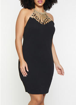 Plus Size Rhinestone Studded Bodycon Dress - 1930015996096