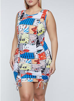 Plus Size Comic Print Drawstring Dress - 1930015996352