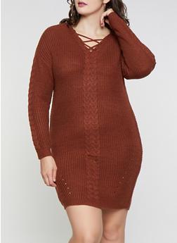 Plus Size Lace Up Knit Sweater Dress - 1930015996401