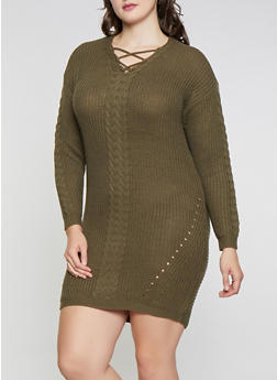 Plus Size Lace Up Knit Sweater Dress - 1930015996401