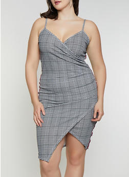 Plus Size Plaid Faux Wrap Dress - 1930015996423