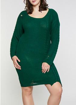 Plus Size Distressed Sweater Dress - 1930015996580