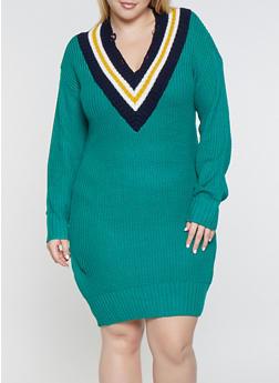 Plus Size Contrast Trim Sweater Dress - 1930015996621