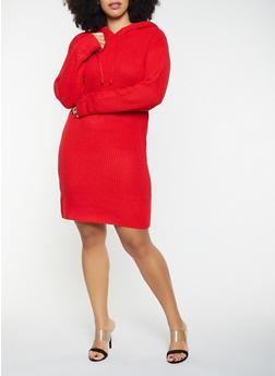 Plus Size Hooded Sweater Dress - 1930015996640