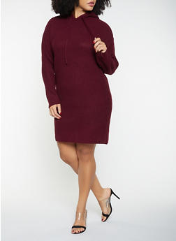 Plus Size Hooded Sweater Dress - 1930015996640