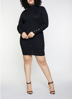 Plus Size Snap Button Sleeve Sweater Dress - 1930015996950