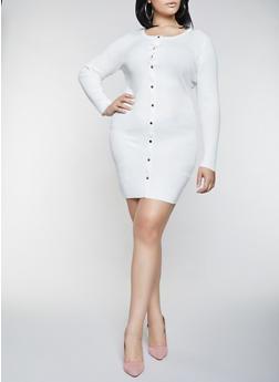 Plus Size Button Front Sweater Dress - 1930015996980