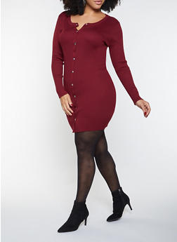 Plus Size Button Front Sweater Dress - 1930015996980