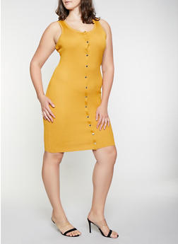 Plus Size Snap Front Ribbed Knit Dress - 1930015997020