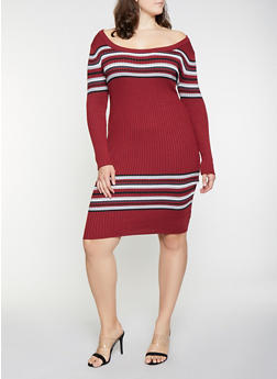 f764bfb9a81 Plus Size Striped Detail Sweater Dress - 1930015997060