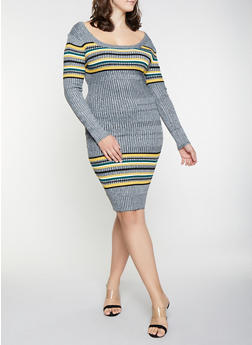 Plus Size Striped Detail Sweater Dress - 1930015997060